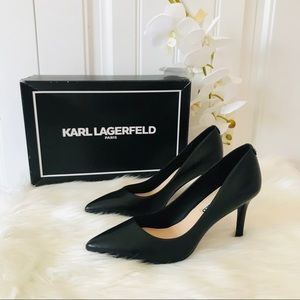 Karl Lagerfeld classic black leather pumps